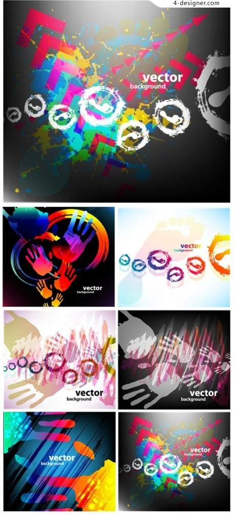 Colorful handprints vector material