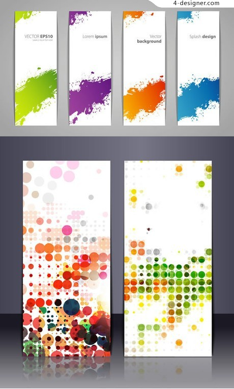 Colorful ink banner vector material