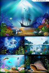 Colorful underwater world vector material