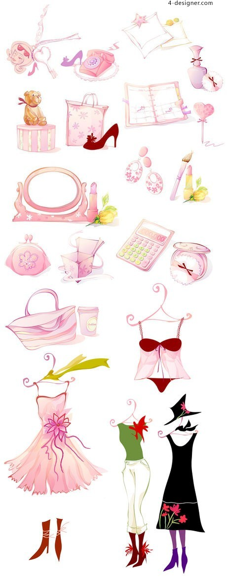 Cute pink women s cosmetics icon vector material
