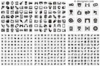 Daily life in black and white icon vector material