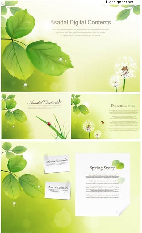 Dandelion green poetic text box vector illustration material