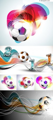 Dazzling football background vector material