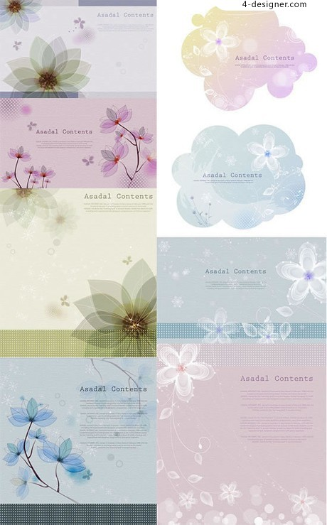 Elegant flower pattern background vector material