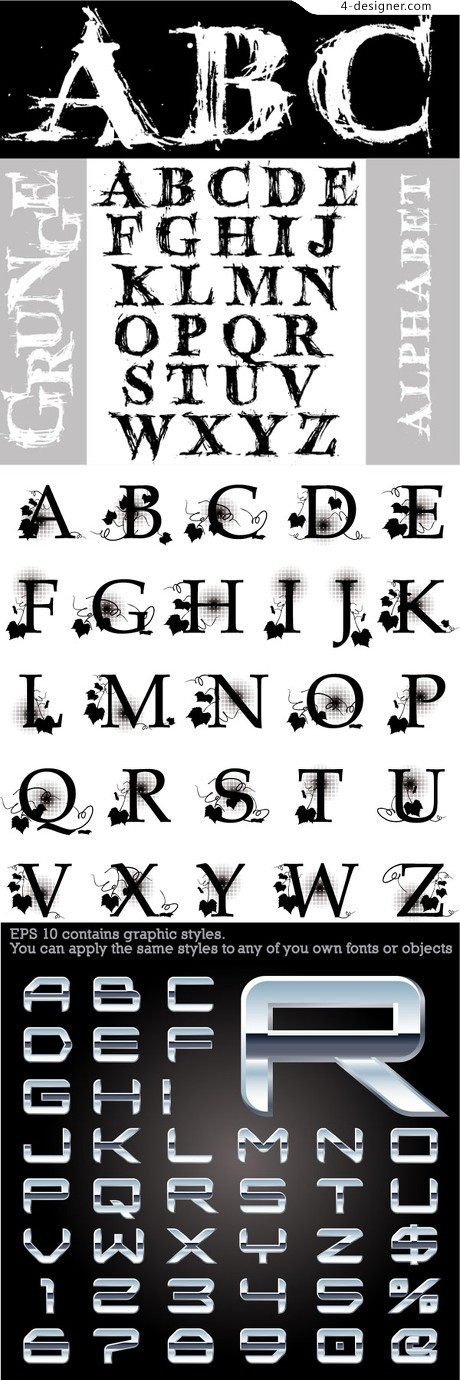 English alphabet effects vector material
