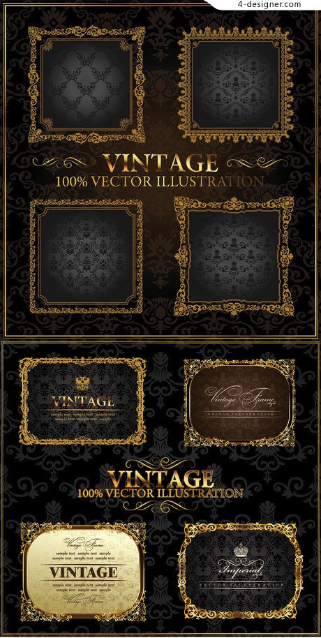 European gold frame vector material