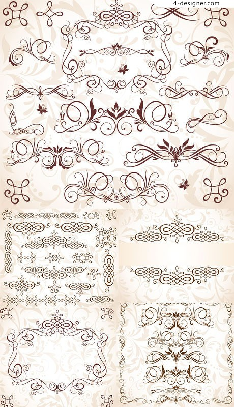 European pattern decorative border patterns vector material