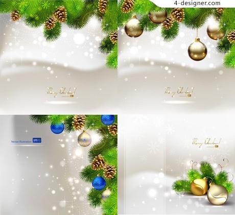 Exquisite Christmas ornaments background vector material