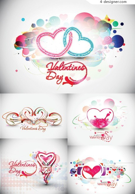 Exquisite heart shaped trend pattern vector material