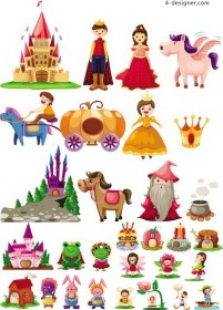 Fairy tale characters Scene vector material