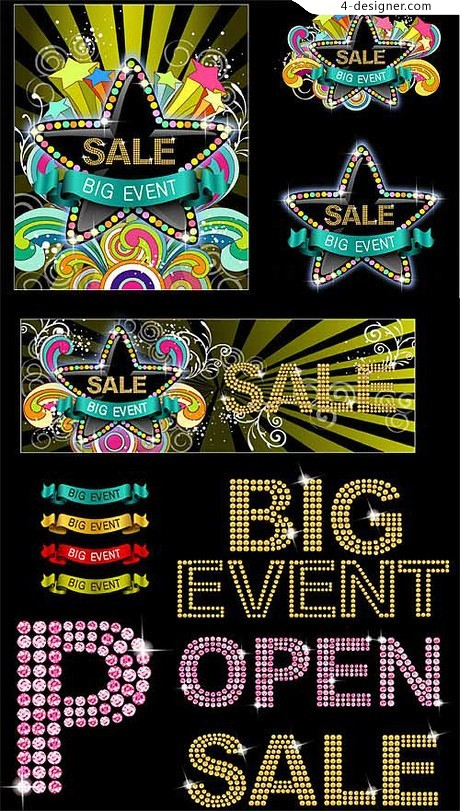 Fashion diamond letters graphics vector material