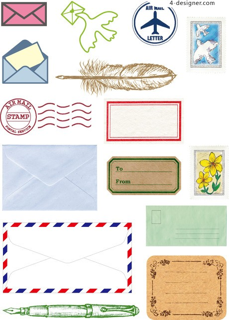 Fashion label envelopes letterheads vector material PNG