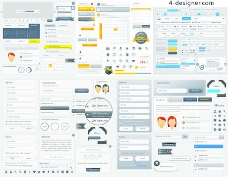 Five landing page navigation interface vector material