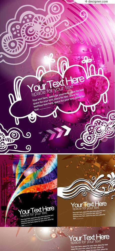 Four fashion Colorful text box template vector material