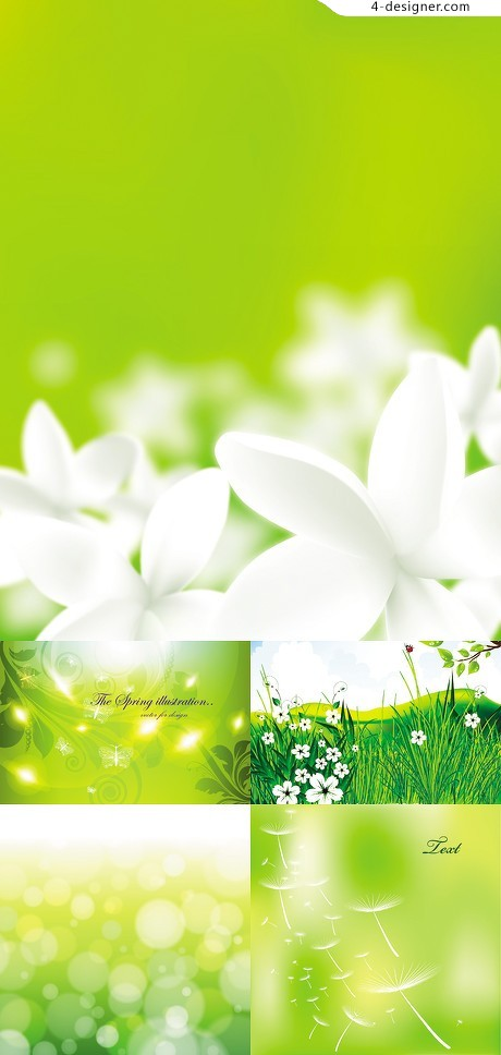 Fresh green background vector material