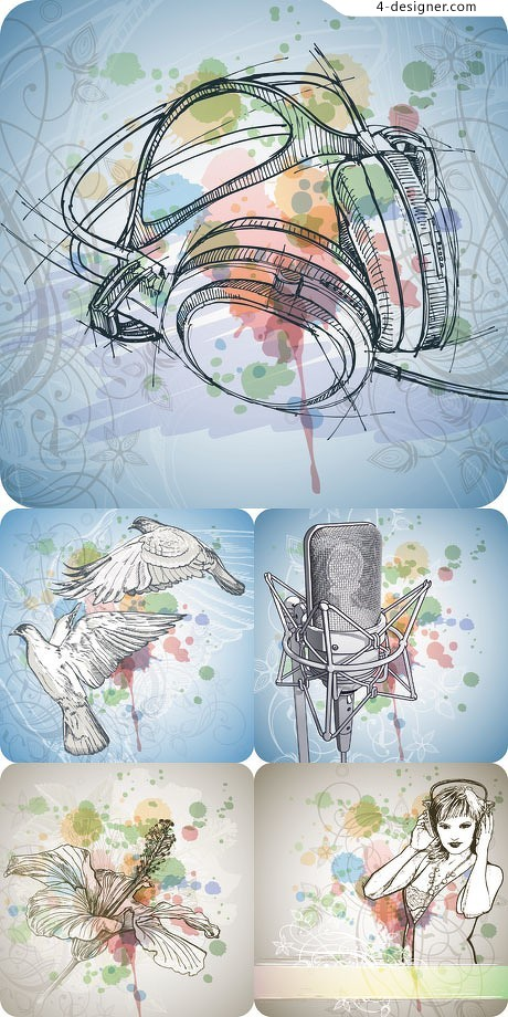Hand painted artwork background music theme vector material