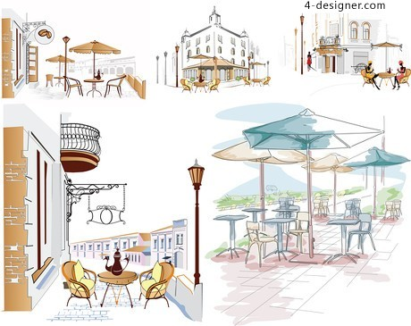 Hand painted roadside coffee bar background color vector material