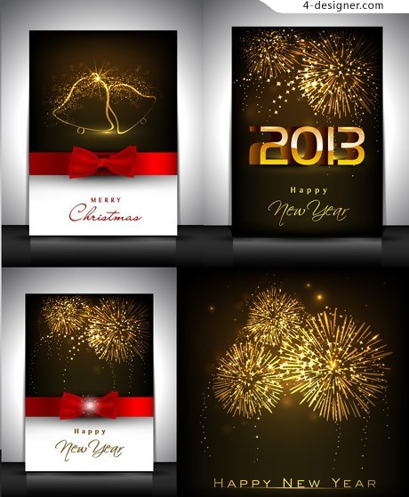 Happy New Year greeting card template vector material
