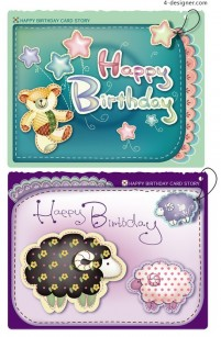 Happy birthday card series vector material 01