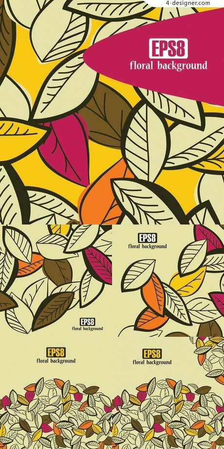 Leaf pattern background vector material