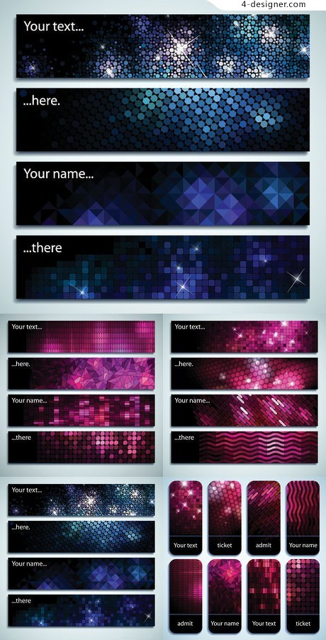Long mosaic crystal diamond flash card background vector material 02