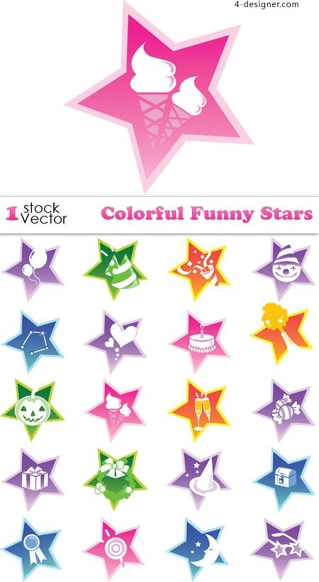 Lovely color star vector material