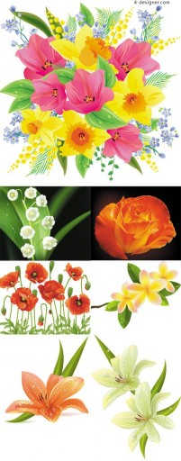 Mouthwatering flowers vector material