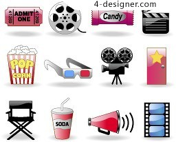 Movie theme icon vector material