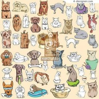 Paragraph 114 cats and dogs vector material