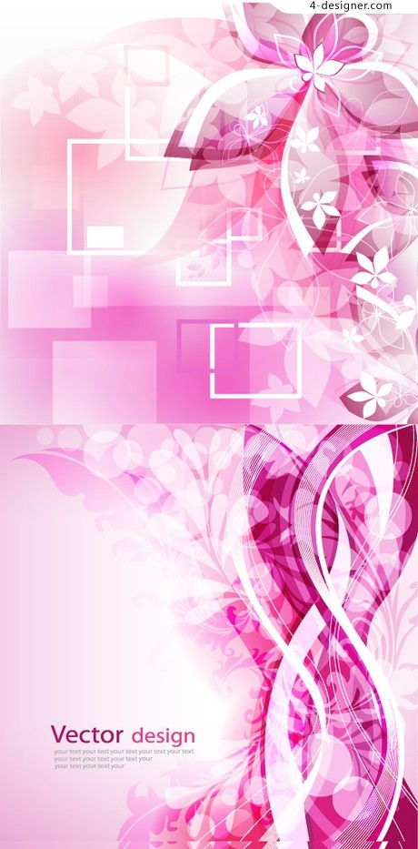 Pink floral background vector material