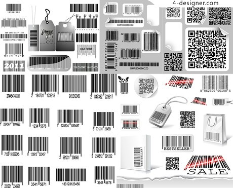 Product bar code stickers vector material security signs