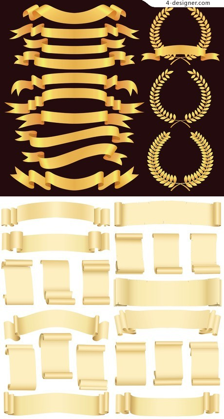 Ribbon and paper roll vector material