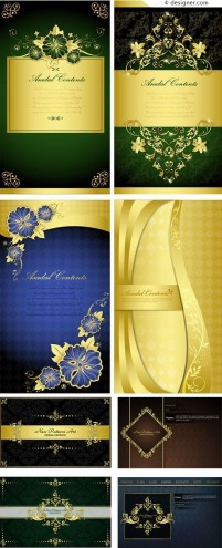 Rich golden card background vector material