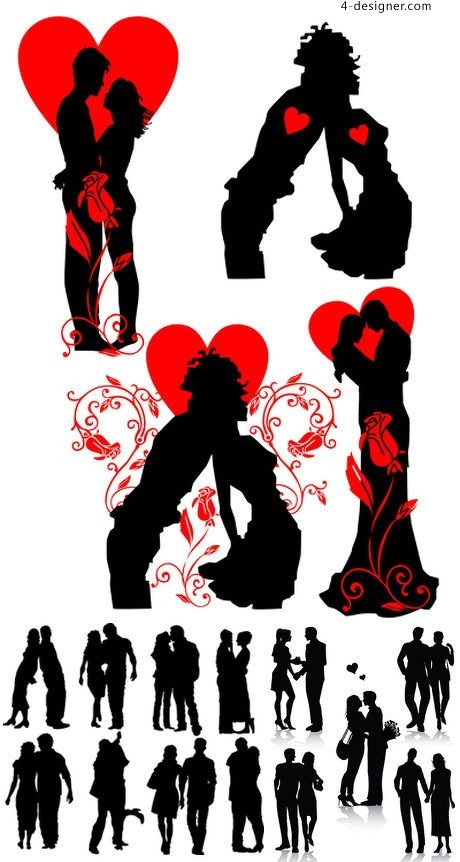 Romantic couple silhouette vector material