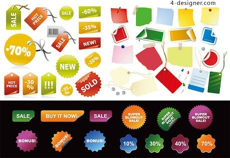 Sale discount tag vector material