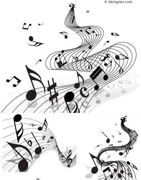 Sheet music with notes vector material