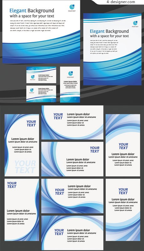 Simple blue line utility business cards vector material