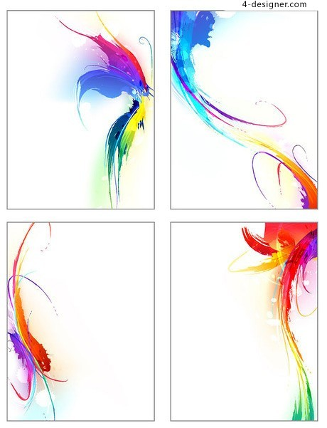 Symphony colorful ink trend vector material 04