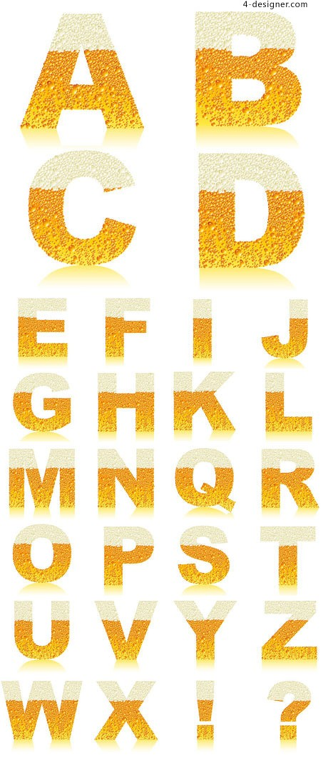 The effect of the beer English alphabet vector material