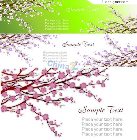 Thriving spring peach vector material