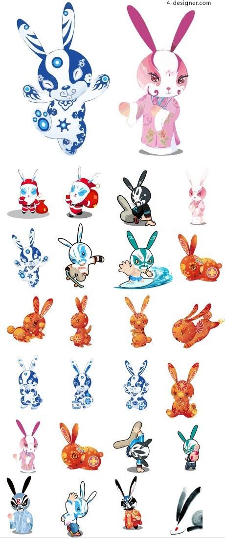 Traditional Chinese rabbit vector material