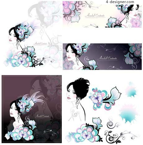 Traditional ink painting image of women vector material
