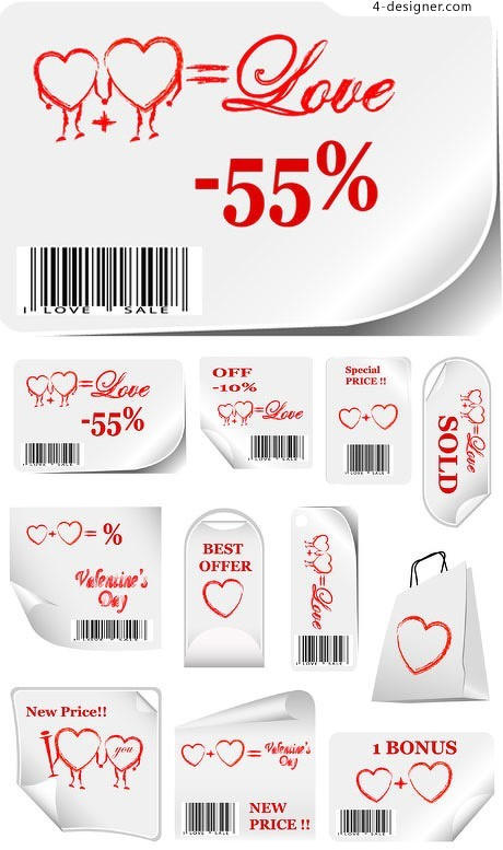 Valentine label stickers vector material