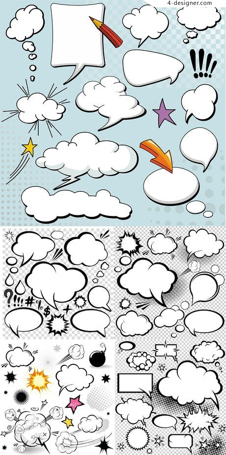 Variety clouds text box vector material