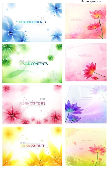 Variety fantasy floral background vector material