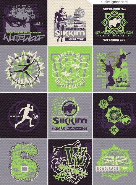 18 models of sports themed image design vector material