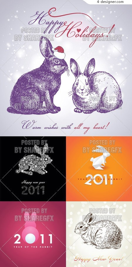 2011 rabbit image background vector material