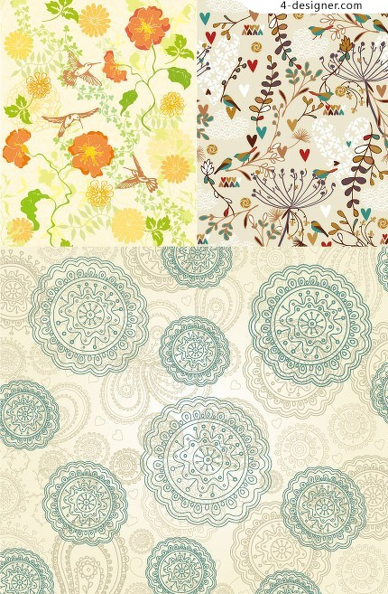 3 beautiful background pattern vector material