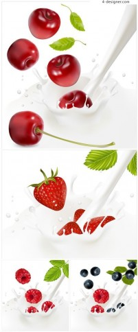 4 fruits fall in milk instantaneous vector material