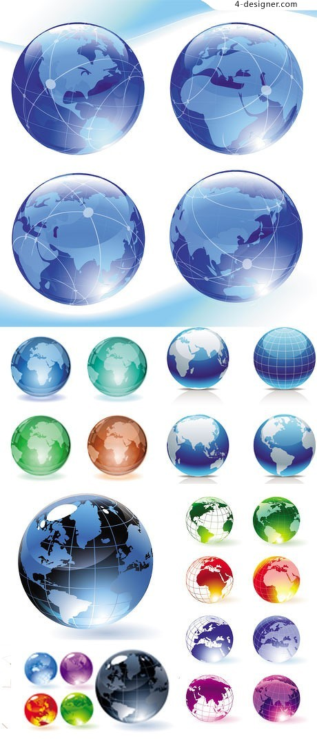 A variety of 3D crystal globe vector material
